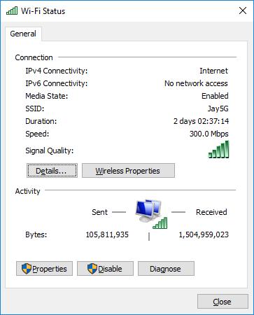 Wi-Fi-Status settings